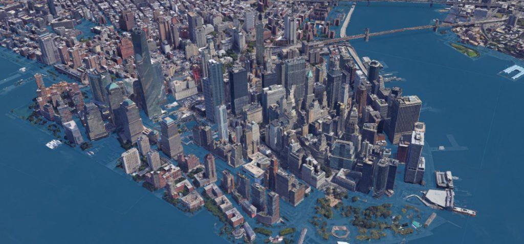 NYC in 2100 under extreme sea level rise scenario.